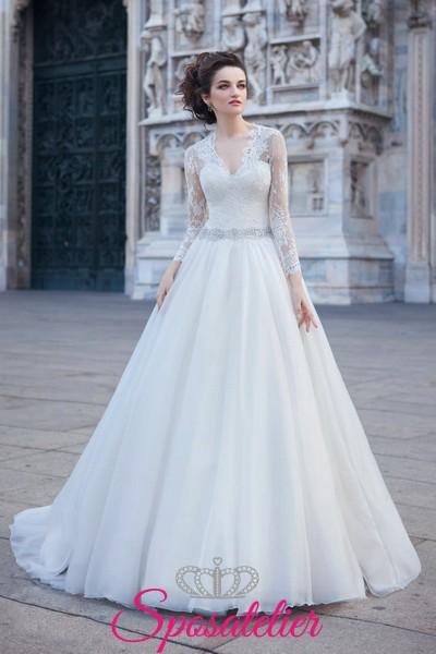 4cc96fee9cd3 abiti da sposa invernali con maniche lunghe 2017 economici online