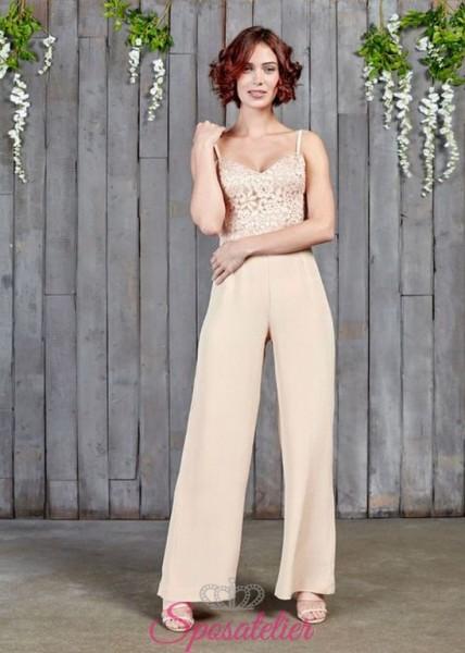 abiti da sposa per matrimonio in comune con pantalone colorato 2017