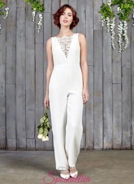 Tuta da sposa con  pantalone  a palazzo 2017 economici online