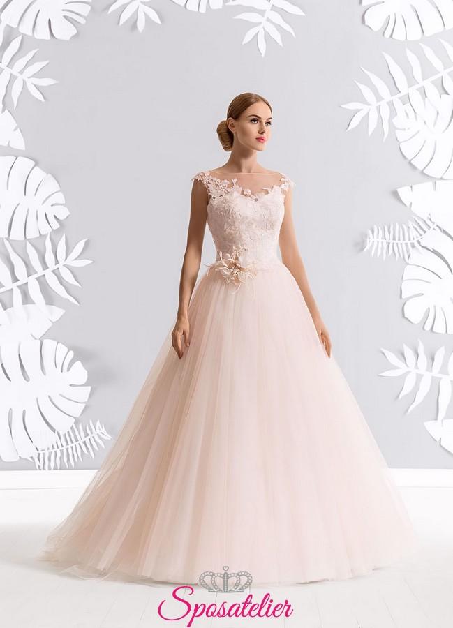 the best attitude 0ccd0 cce90 vestiti da sposa rosa cipria online economici collezione 2017