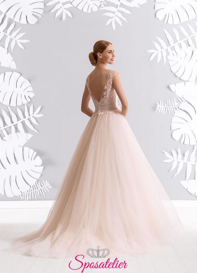 Scarpe Sposa Rosa Antico.Vestiti Da Sposa Rosa Cipria Online Economici Collezione