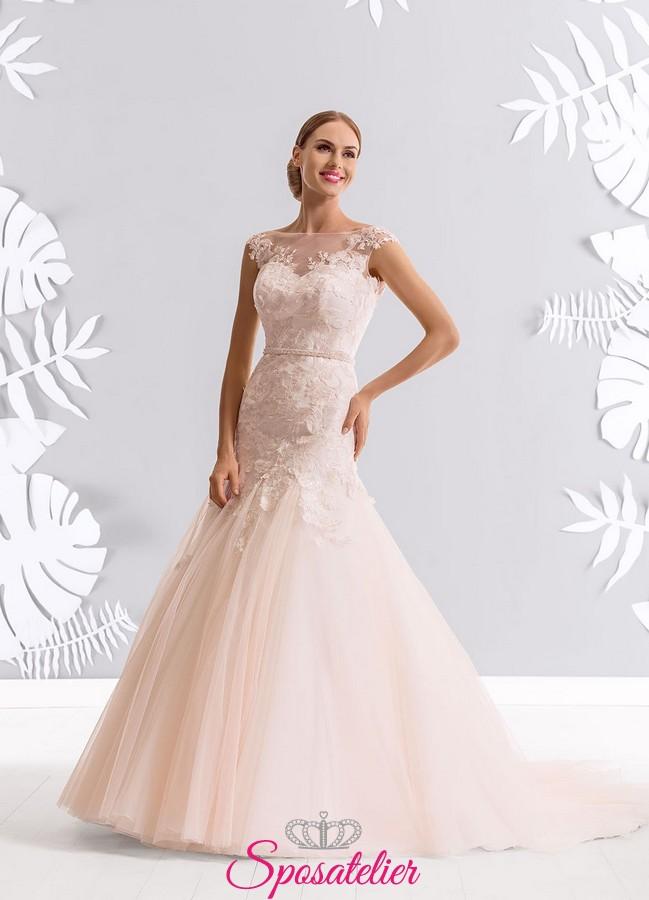 54b49c35a963 vestiti da sposa rosa nuovi modelli bellissimi economici on line italiani