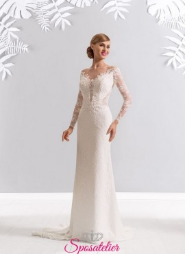 abito da sposa con maniche lunghe ricamate economici online ebf74c3f935