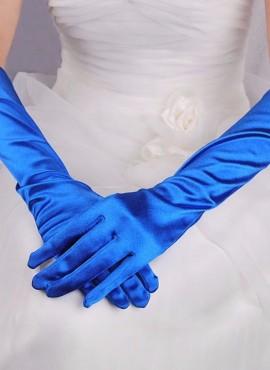 guanti da sposa lunghi in raso blu online economici