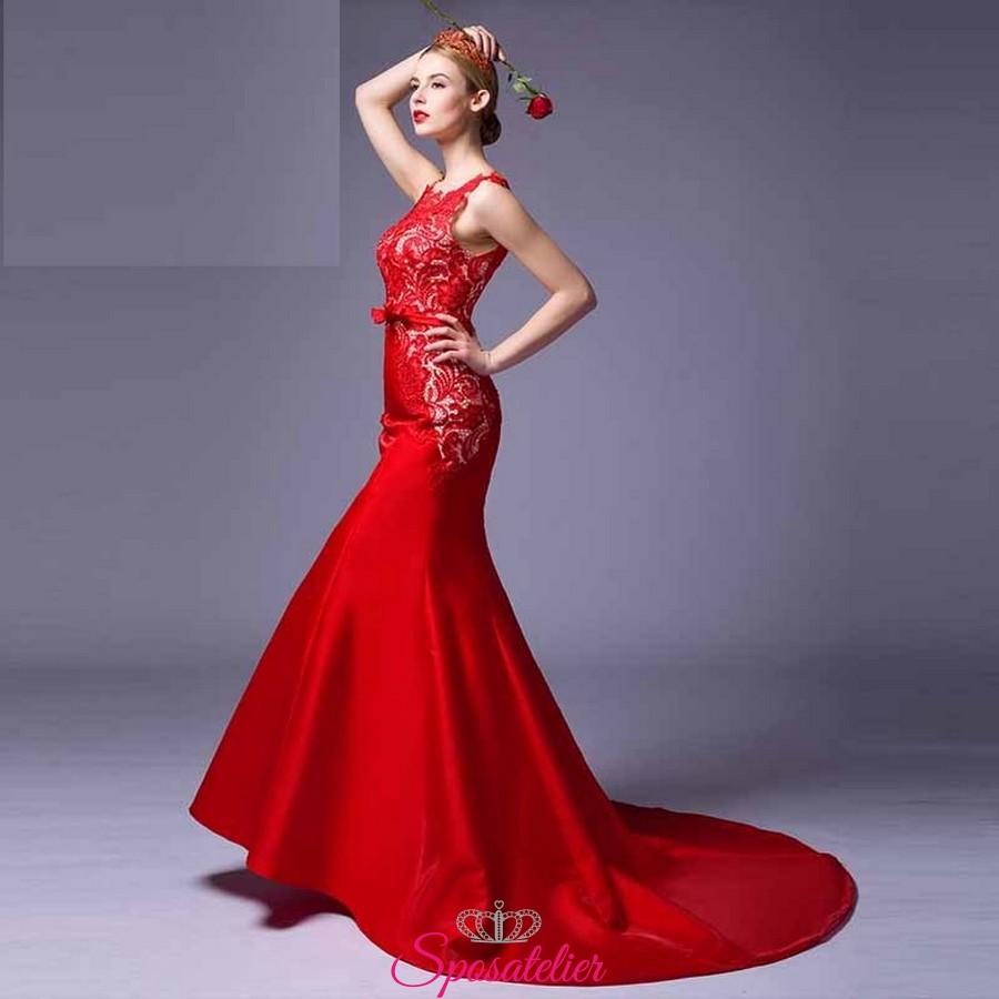 7d66203f114c abiti da cerimonia online lunghi economici rossi 2017 Italia realizzati su  misura