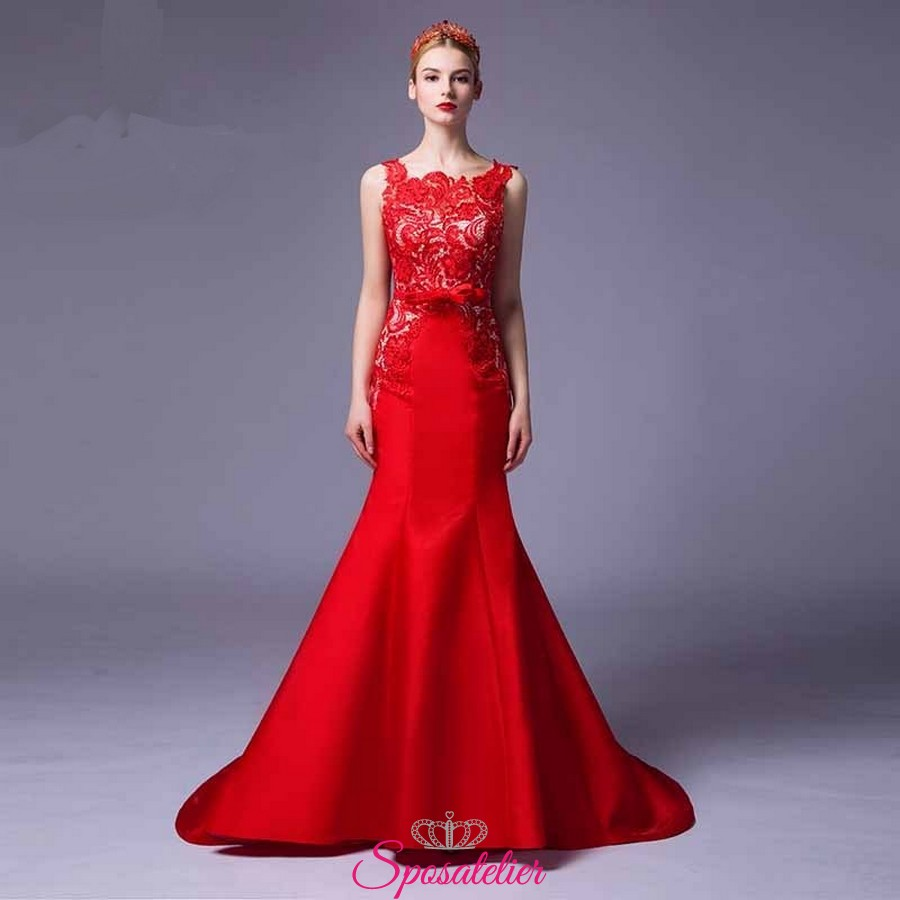 abiti da cerimonia online lunghi economici rossi 2017 Italia realizzati su  misura ea056002a98