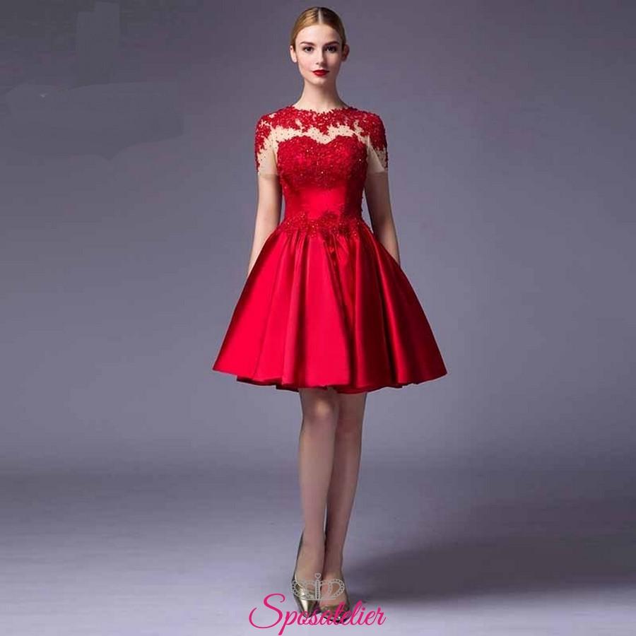vendita calda online vasta selezione di stati Uniti vestiti da damigella corto economici rossi 2017 18 anni online