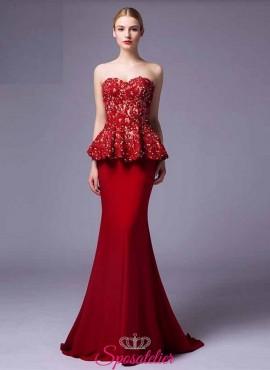 vestiti da damigella eleganti  lunghi economici rossi 2017