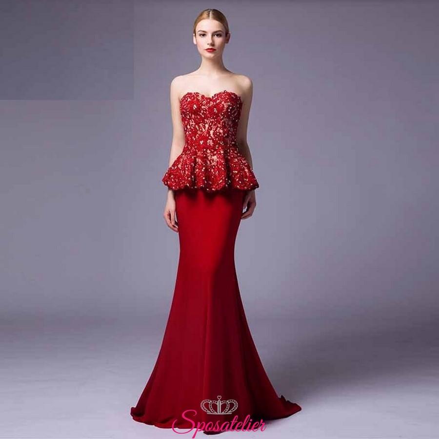 online retailer 37475 adcb3 vestiti da damigella eleganti lunghi economici rossi 2017
