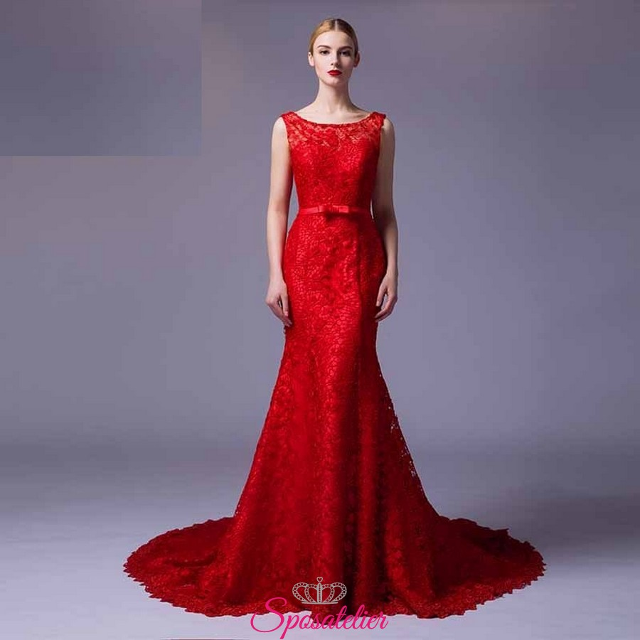 uk availability ca5d8 8fb02 vestiti da damigella lunghi economici rossi 2017 online Italia