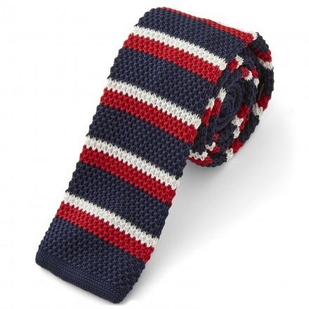cravatta a maglia blu e rossa a righe