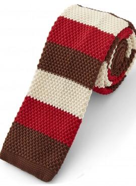 Cravatta  marrone rosso beige stile maglia