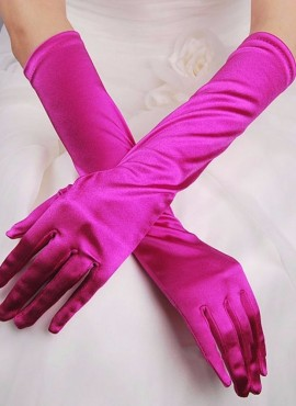 guanti da sposa lunghi in raso fucsia online economici