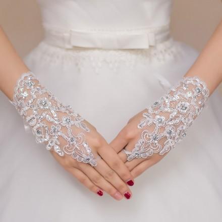 guanti da sposa ricamati con pizzo e strass senza dita online economici