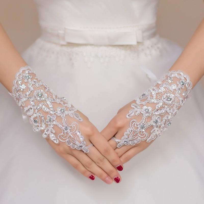 3306e0805f31 guanti da sposa ricamati con pizzo e strass senza dita online economici