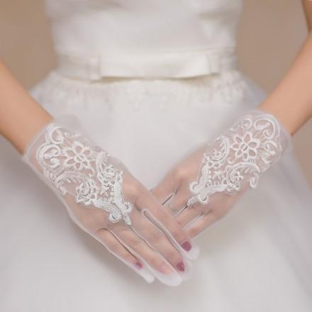 Guanti da sposa organza e pizzo corti  online accessori sposa