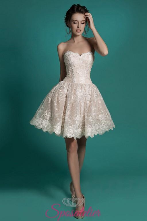 quality design 45956 8c501 abiti da sposa corto e colorato a campana 2017 sopra il ginocchio