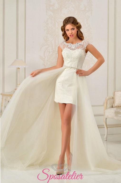 abiti da sposa 2 pezzi corto e gonna con strascico lungo acquisto online