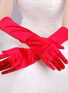 guanti da sposa lunghi in raso rossi online economici