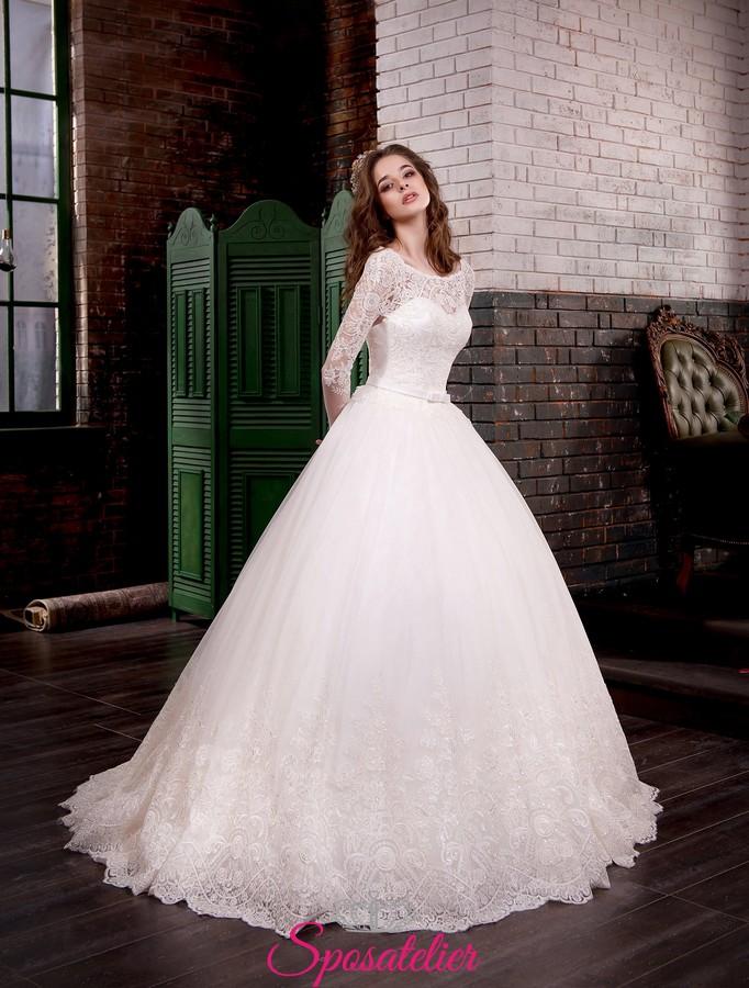 Super abiti da sposa da principessa 2017 con maniche lunghe online  ZG51