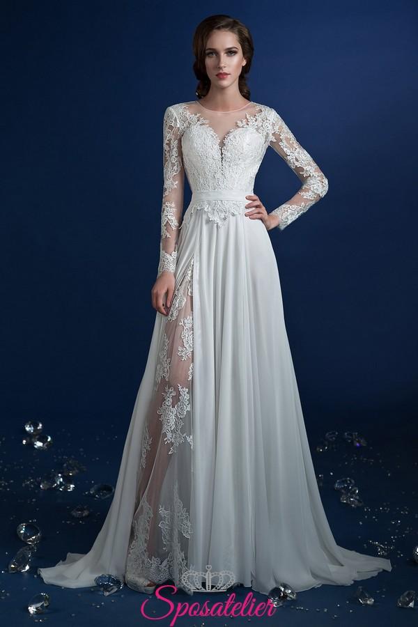 vestito da sposa con spacco trasparente con ricami in pizzo economici online 88a028df7a1
