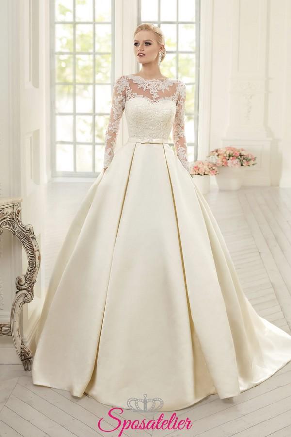 Vestiti Da Sposa In Raso.Abito Da Sposa Elegante Principesco Ampio In Raso Pizzosposatelier