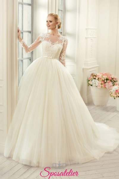 abito da sposa principesco ampio in tulle e pizzo prezzi economici online