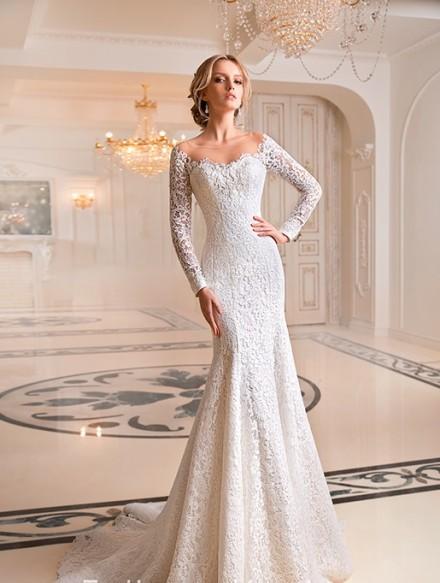 Brigitta – abiti da sposa a sirena con maniche lunghe in pizzo