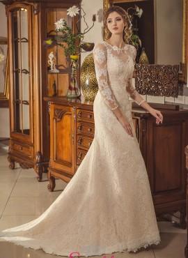 abiti da sposa in pizzo chantilly con maniche lunghe economici online