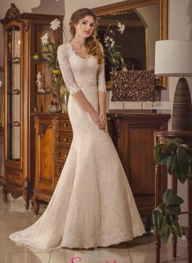 abiti da sposa champagne con maniche di pizzo economici online