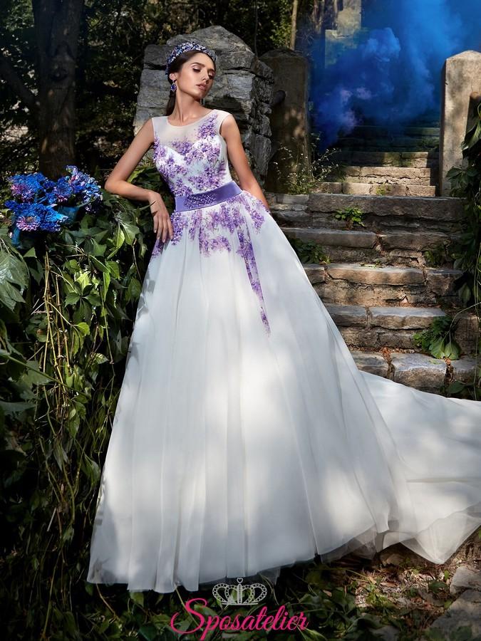 Scarpe Da Sposa Lilla.Vestiti Da Sposa Con Ricami In Pizzo Color Lilla Online Economici
