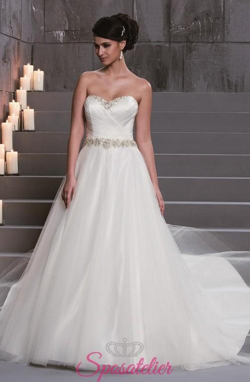nuovo stile di vita immagini dettagliate ultima vendita abiti da sposa ampio e principesco con strass sul corpetto a cuore