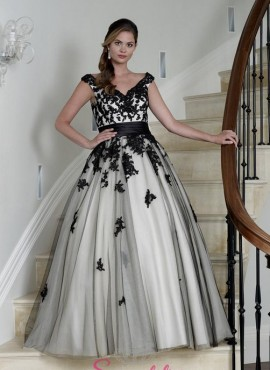 abiti da sposa ricamato in pizzo colorato nero per donne curvy