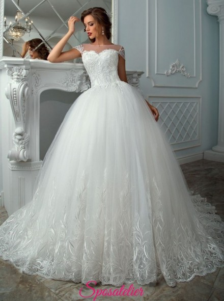 KIA – abiti da sposa principeschi  ricamato in pizzo ,economico vendita online