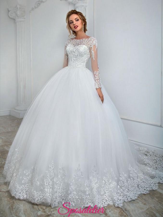 Molto abiti da sposa a palloncino con maniche lunghe ricamate in pizzo  ZU88
