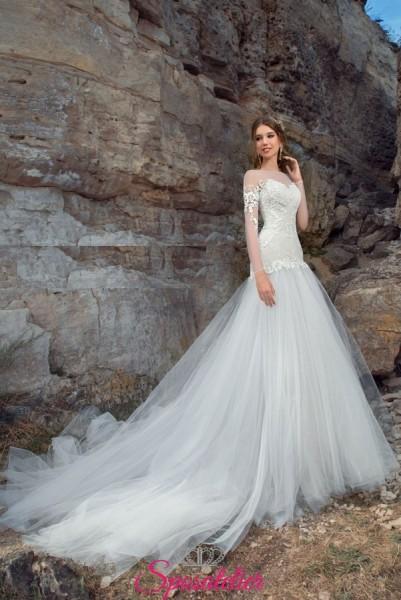 SILVIE – abiti da sposa a sirena con maniche lunghe e gonna pomposa