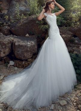 S4040 – abiti da sposa a sirena in pizzo con strascico lungo nuova collezione