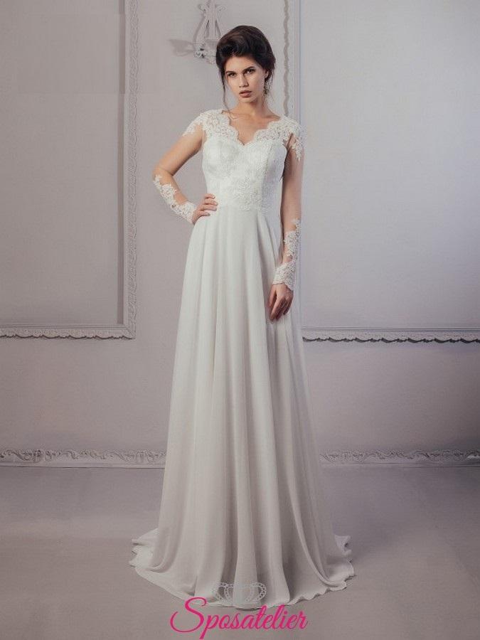 fdbbced11f4d abito da sposa economici online con maniche lunghe di pizzo 2017