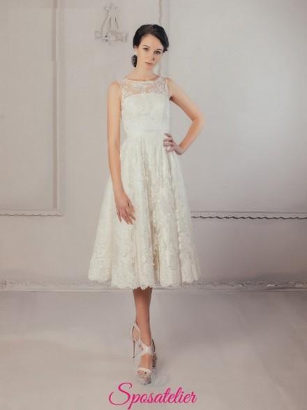 Kunigunda – abiti da sposa elegante corto per matrimonio in comune economici online