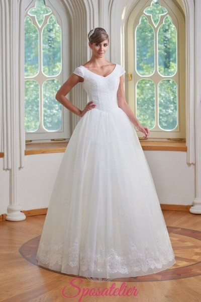 FABRY – Abiti da sposa con scollo a barchetta gonna ampia