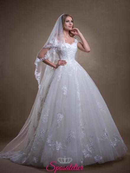 abito da sposa Economico online da principessa con ricami in pizzo