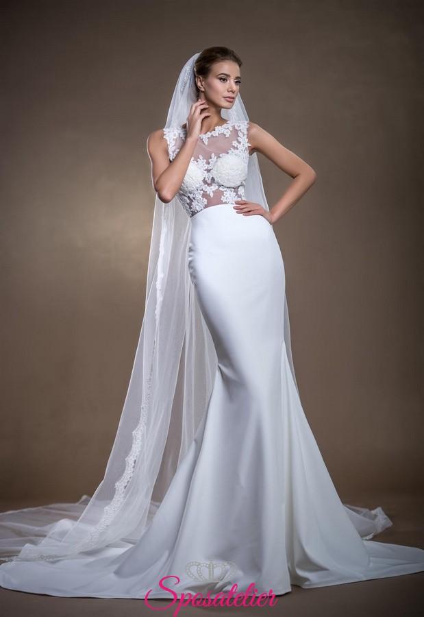 abiti da sposa economici online modello sirena in seta e pizzo