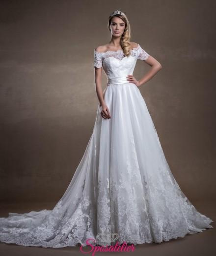 abiti da sposa economici online stile principessa con scollo a barca romantico