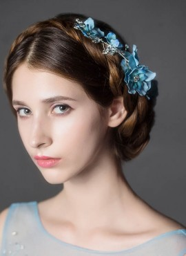 Coroncina con Fiori blu  damigella per acconciatura capelli online sito italiano