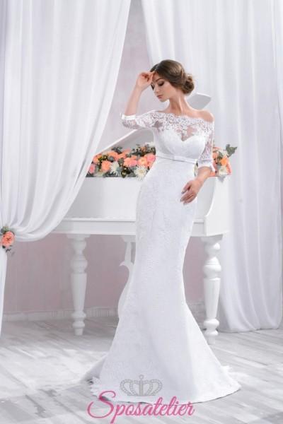 abiti da sposa economici in pizzo ricamato scontati realizzati su misura