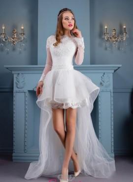 b4d5abd75222 abito da sposa corto davanti e lungo dietro moda 2017