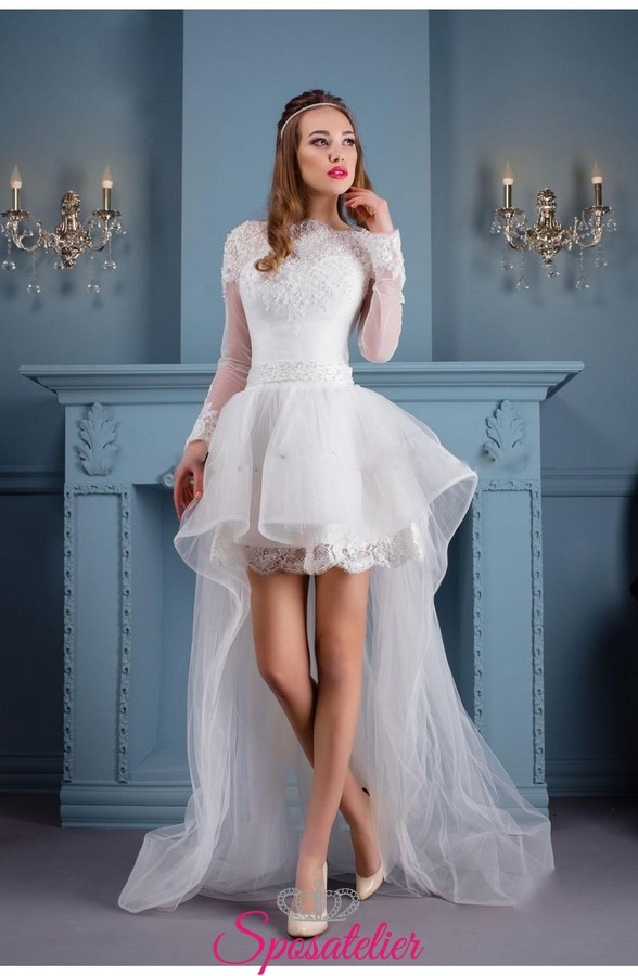 45e7fa404a67 abito da sposa corto davanti e lungo dietro moda 2017 ...
