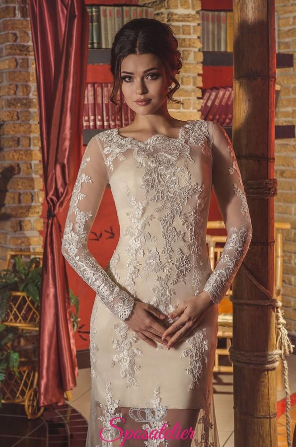 5e7a89b42a88 Vestito da sposa di pizzo color champagne con gonna trasparente ricamata.  Vendita!