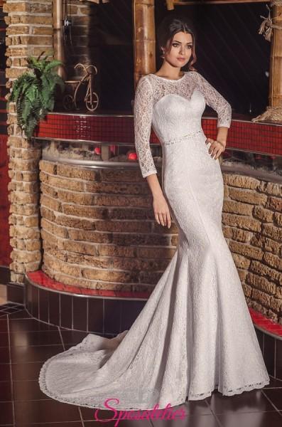 Vestito da Sposa  a sirena in pizzo raffinato e maniche lunghe