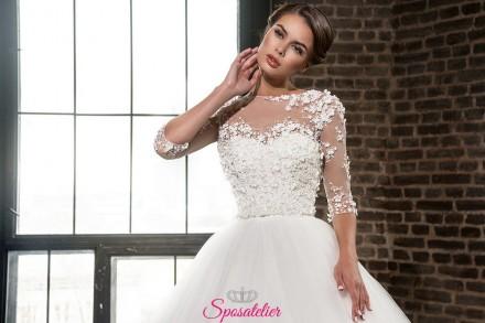 abito da sposa con pizzo floreale Economico online Nuova collezione